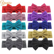Buy Girls Solid Elastic Headband Children Glitter Bow Turban Hairband Hair Accessories Kids Elastic Hair Bands Headwear for $1.44 in AliExpress store