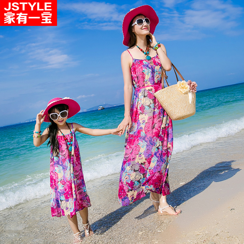 2016 Matching Mother Daughter Dresses Family Look Clothing Girl and Mother Chiffe Maxi Dress Parent-child Outfit Ma e Filha<br>