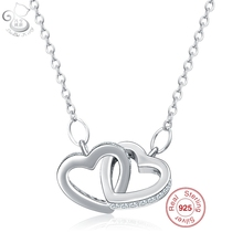 Famous Real 925 Sterling Silver Luxury Classic Jewelry LOVE Heart Necklace Pendants Christmas Gifts For Women(China)