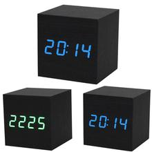 2017 1PC Digital LED Black Wooden Wood Desk Alarm Brown Clock Voice Control(China)