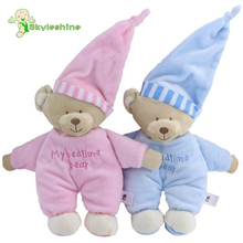 Skyleshine Hot Baby Sleeping Bear with Tags My Bedtime Bear Kawaii Soft Baby Toys High Quality Blue Pink Doll #ML0211(China)