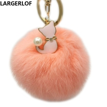 New Arrival 2016 Fashion Faux RabbitFur Keychain Ball Key Chain  llaveros mujer Fluffy Fur Pom Pom Keychain Car Bag Key Ring