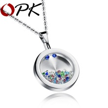 OPK Unisex Wishing Bottle Pendant Romantic Stainless Steel Round Pendants & Necklaces Free Link Chain Fashion Jewelry GX1059