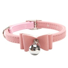 Adjustable Dog Bowknot Lead Leather PU Cat Kitten Puppy Pet Collars with Bell Necklace Pup Dog Collars