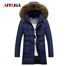 Men Parkas Clothes Coats 2017 New Winter Cashmere Long Wool Hooded Parkas Thickened Warm Fur Collar Overcoats Men's Down Jacket
