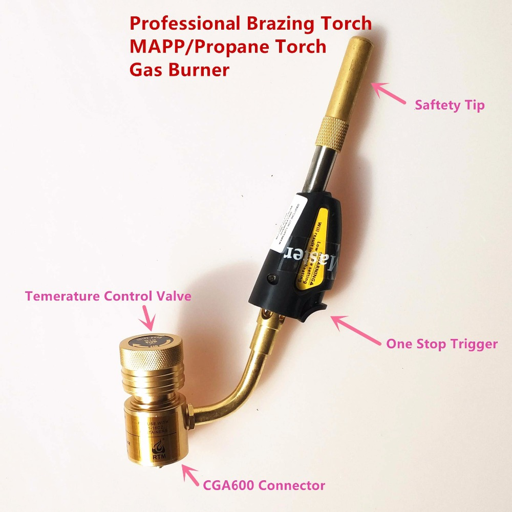 Welding Torch of MAPP/Propane Gas for Brazing Soldering Welding Heating Application can also be used for BBQ Brazing Torch<br>