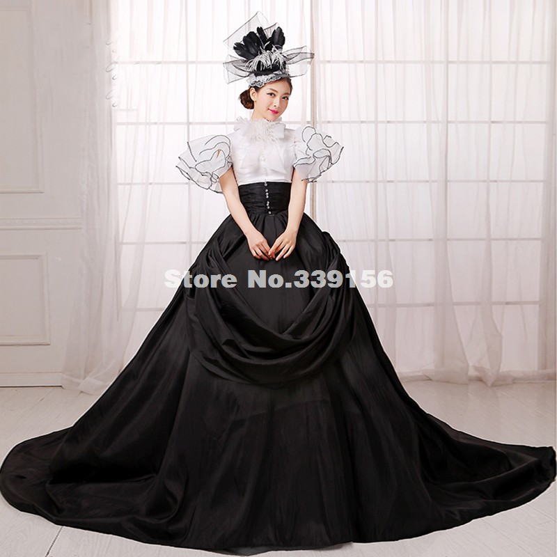 Best Seller Black And White Gothic Punk Ball Gown Medieval Renaissance Marie Antoinette Rococo Dress Gown Costumes Vestidos