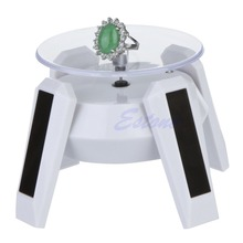 Solar Power 360 Degree Jewelry Rotating Display Stand Turn Table Plate