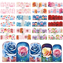 12 Designs Rose Flower Beauty Full Wraps Nail Art Water Transfer Stickes Mixed Decals Nail Tips Decor Manicure Tools BEBN553-564(China)