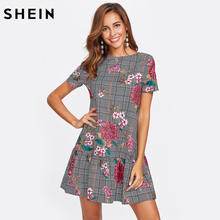 SHEIN Flower Print Plaid Smock Dress Black and White Short Sleeve Drop Waist A Line Dress Elegant Floral Dress(China)