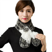 Cost-effective Lovely Womens Real Rex Rabbit Fur Scarves Rose Design Girls Natural Fur Wraps Winter Soft Muffler LX00487(China)