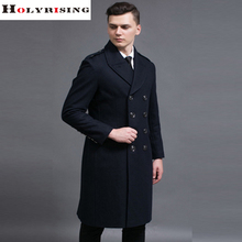 2017 Spring Autumn British Style Classic Men Wool Coats Turn Collar Jackets Warm Outwear Double Button Outward Clothing S-6XL