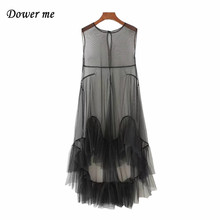 Fashion Perspective Voile Ladies Dress Elegant Patchwrork Hem Women Frocks Female Sexy Sleeveless Dresses YN2361(China)