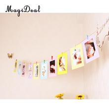 MagiDeal DIY Craft Paper Hanging Album Photo Frame Fanily/ / Company / Cafe Wall Picture Display Rope Clips 6'-Great Gift