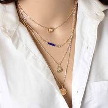 TOMTOSH New fashion temperament cable chain four layers of heart - shaped gold beads multi - layer metal pendant necklace