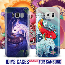 For Samsung Galaxy S4 S5 S6 S7 Edge S8 Plus Note 2 3 4 5 C5 C7 A8 A9 Japanese koi illust Art Japan Design Phone Case Shell Cover