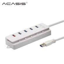 ACASIS HS00009 USB 3.0 Hub 5 Ports Super Speed With on/off Switch For Windows Mac OS Linux PC Laptop High-speed Transmission