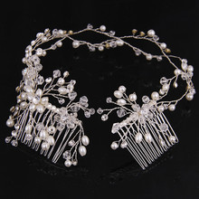 Fashion tiara Silver Gold Hair Comb women's pearl flower headbands hairwear jewelry Wedding gift crown for girls Party Prom