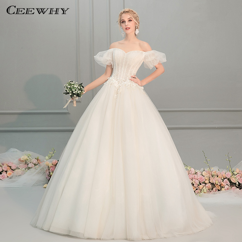 CEEWHY Boat Neck Puff Sleeve Princess Wedding Dresses Beaded Appliques Wedding Gowns Simple Wedding Dress 2019 Vestido de Noiva