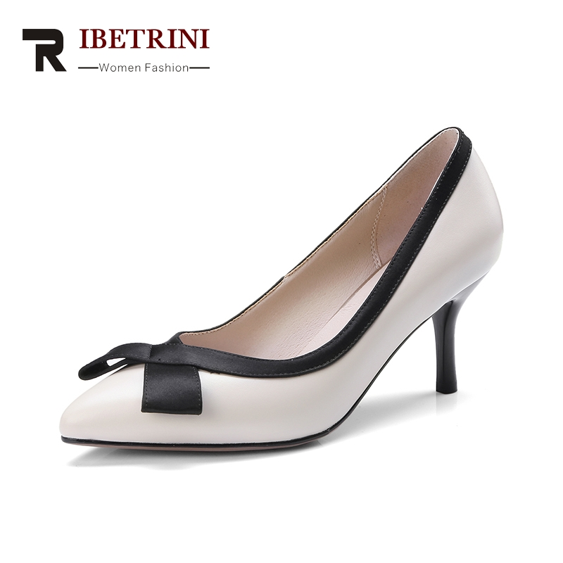 RIBETRINI 2018 Genuine Leather Womens Slip On Thin High Heels Pointed Toe Office Party Wedding Pump Shoes Woman Size 33-40<br>
