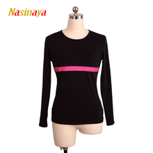costume customized ice figure skating tops gymnastics black warm fleece adult child single sky blue stripe tight round neck(China)