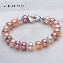 YIKALAISI 2017 New Fashion 8-9-10-11mm white Multi 100% natural pearl bracelets 18cm pearl 925 sterling silver jewelry Best Gift(China)