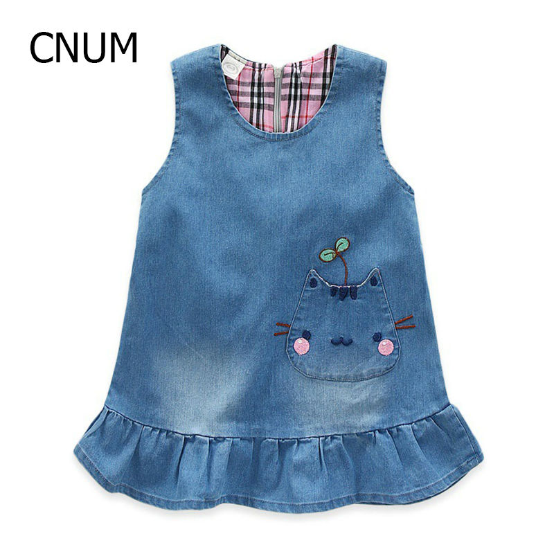 Spring 2017 New Childrens Clothing Girls Washed Denim Embroidered Pocket Vest Dress Denim Overalls Childrens Dresses<br><br>Aliexpress
