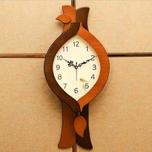 Geekcook European Modern Simple Pendulum Clock Living Room Bedroom Entrance Decoration Wall Clock Silent Solid Wood Wall Clock