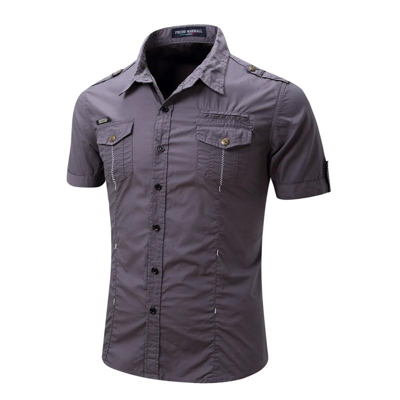 2018 New Men Cargo Shirt Casual 100% Cotton Man Solid Color Short Sleeve Shirts Work Shirt US Size S-XXXL (6)