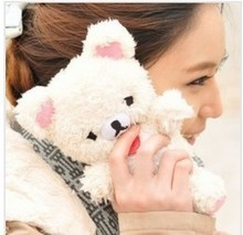 NEW Lovely Cute 3D Teddy Bear Doll Toy Plush Case Cover cases for iphone 5s 5g cell Phones housing Free Shipping