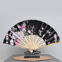 100pcs 21cm Portable Japanese Style Satin Fabric Ladies Hand Held Folding Fan Crooked Bamboo Fan Party Favor ZA4939(China)