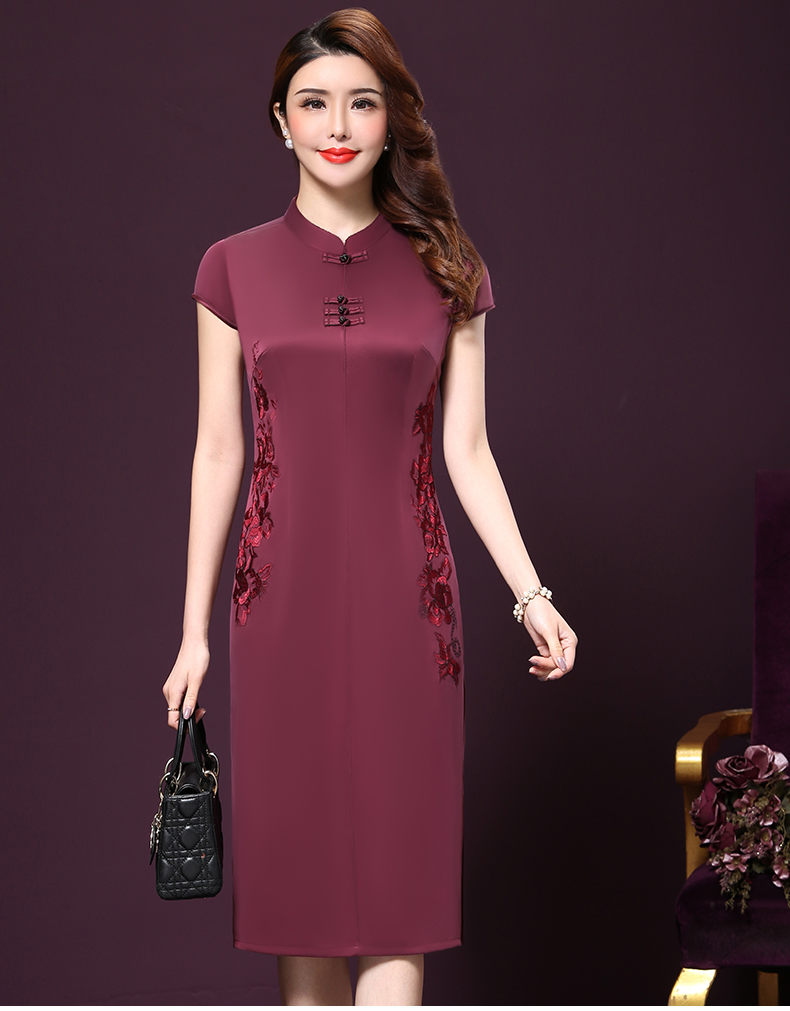 Plus size 4XL Chinese Style High-End Silk Vintage Embroidered Summer Dress Women Collar Short-Sleeve One-Step Dress female P168 9