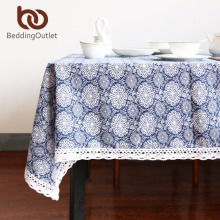 BeddingOutlet Flower Tablecloth Cotton And Linen Dinner Table Cloth Macrame Decoration Lacy Table Cover Elegant Classic For Gift(China)