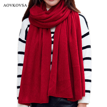 AOVKOVSA 2017 Winter New Fashion Adult Solid Cotton Women Scarf Keep Warm Long Hood Big Scarves