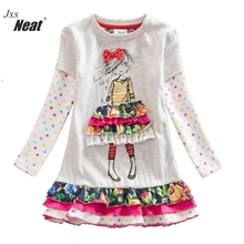 New 2016 spring girl long-sleeved dress clothes girl pure cotton decals cartoon image round neck long sleeve tutu dress LH3660