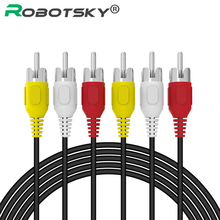 Robotsky 3 RCA Male to 3 RCA Male Audio Composite Video Cable Male to Male Aux Cable for STB DVD VCD 1.5M 5FT RCA Splitter Cable