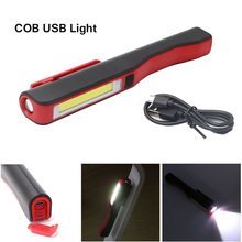 Portable USB Led Hand Torch COB LED Pen Light Clip Magnet USB Rechargeable Work Torch Flashlight Inspection Lamp --M25(China)