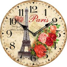 Paris Eiffel Tower Fench Big Retro Wall Clock Modern Design Flower Large Decorative Vintage Antique Wooden Wall Clock Home Decor