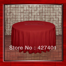 "Hot Sale  132"" R  Cherry Red Round Table Cloth Polyester Plain Table Cover for Wedding Events &Party Decoration(Supplier)"