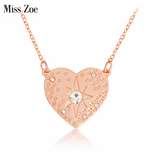 Miss Zoe Heart Shaped Starburst Hammered Necklace Crystal Rhinestone Pendant Necklace Rose Gold Simple Jewelry Gift for Women