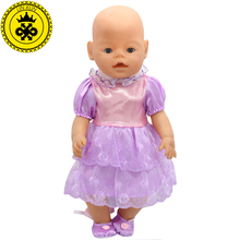 Fit 43cm Zapf Baby Born Doll Clothes Purple Princess Dress Get Beautiful Shoes Christmas Gift Doll Accessories Fashion 209(China)