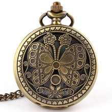 Free shipping Antique Bronze Butterfly Quartz Big Pocket Watch Necklace Pendant Womens Mens Women Gifts P40 relogio de bolso