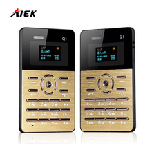 Original AIEK Q1 Quad Band Mini Ultra thin Pocket Card Cool Children Mobile Cell Phone MP3 FM English Russian Arabic Keyboard