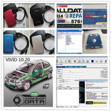 Newest v10.53 alldata and mitchell auto software +elsawin+vivid+atsg+moto heavy truck 50in1 hdd 1tb all data car repair for car