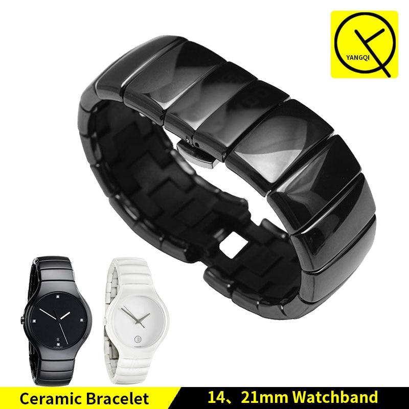 Ceramic Watch Bracelet Butterfly Buckle Strap for Rado TRUE Series Watch Band CERAMICA R27655752 14mm 21mm Man Woman Black White<br>