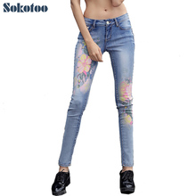Sokotoo Women's fashion flower print jeans Casual slim skinny pencil pants Blue denim long trousers