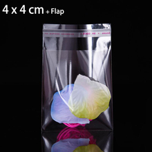 "200 Pcs 1.57"" x 1.57"" FOLD-OVER FLAP SELF SEALING MINI GIFT BAG 4 x 4 cm CLEAR RESEALABLE POLY CELLO CELLOPHANE BAGS"