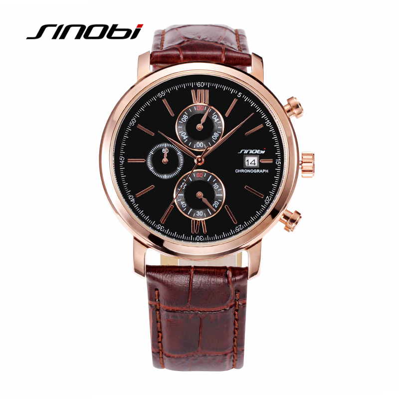 SINOBI Top Brand Luxury Rose Golden Clocks Fashion Casual  Leather Band Auto Day  Quartz Wristwatches For Gentleman <br>