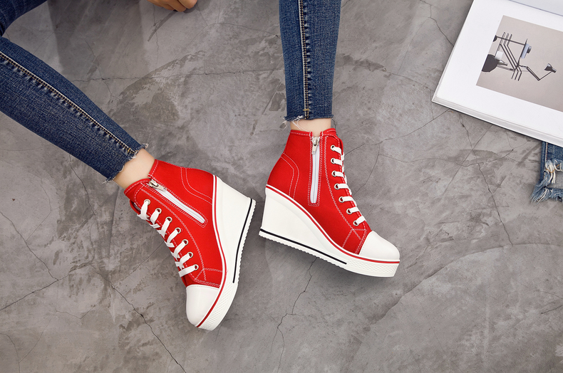 Women's Shoes Hidden Wedge Heel Shoes 18 Women Casual Shoes Canvas Sneakers High Top Breathable Platform Chaussure Femme 7