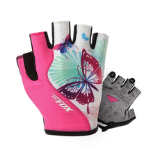 BATFOX Women Cycling Gloves Half Finger Polyester Breathable Sport Bike Gloves Summer Outdoor MTB Gel Fitness Bicycle Gloves